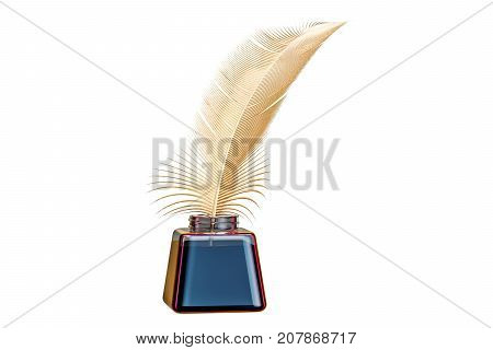 Golden feather and ink bottle 3D rendering isolated on white background