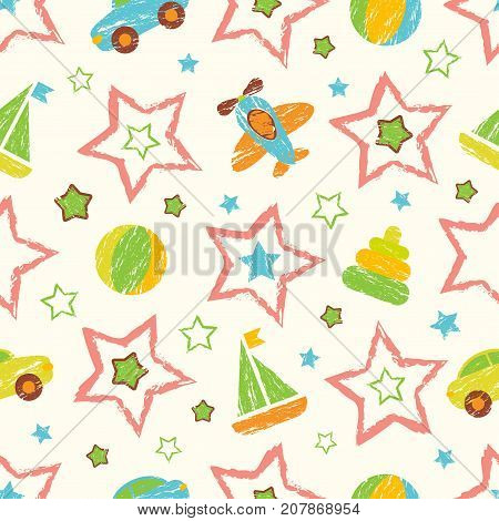 Abstract seamless baby pattern for girls, boys, clothes. Creative baby vector background with ball, geometric figures, stars, cars, aircraft.Funny baby wallpaper for textile and fabric.Fashion style.Colorful bright.