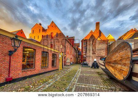 GRONINGEN NETHERLANDS - NOVEMBER 2 2016: Maritime museum or Noordelijk Scheepvaart museum in Groningen city centre