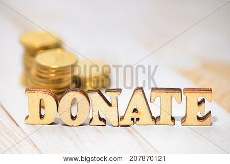 Wood Word Donate