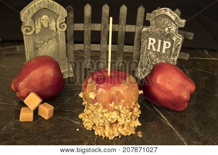Caramel Apple  With Tombstones And Apples