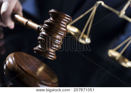 Legal advice concept. Gavel and scale of justice.