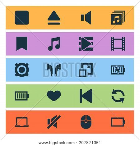 Music Icons Set. Collection Of Start, Song List, Music And Other Elements
