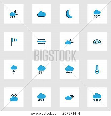 Climate Colorful Icons Set. Collection Of Wind Speed, Snowfall, Thermometer And Other Elements