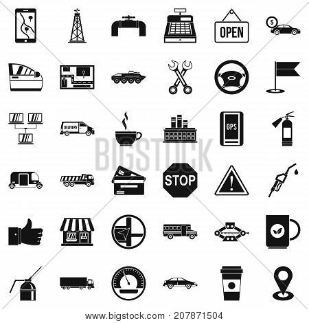 Gasoline icons set. Simple style of 36 gasoline vector icons for web isolated on white background