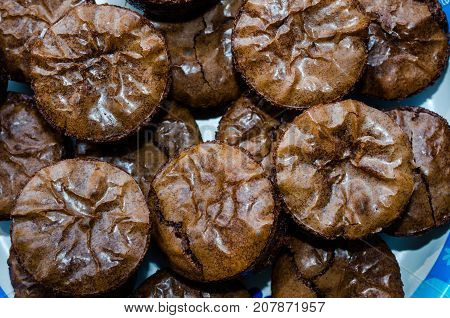 Dark chocolate rich decadent homemade brownies.  Sweet delicious treat or snack.