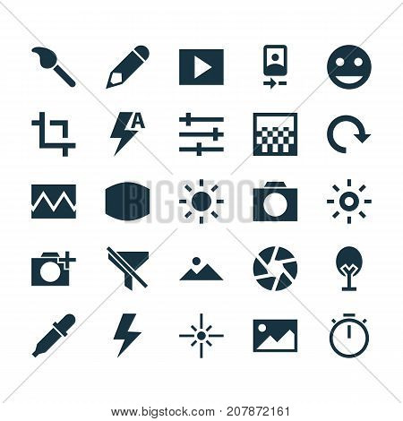 Image Icons Set. Collection Of No Filter, Center Focus, Chessboard And Other Elements