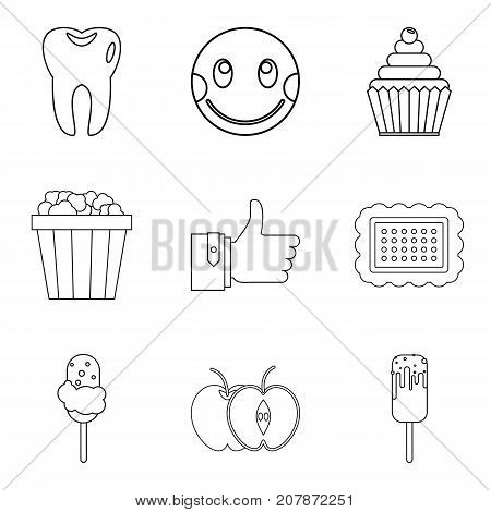 Joy of food icons set. Outline set of 9 joy of food vector icons for web isolated on white background