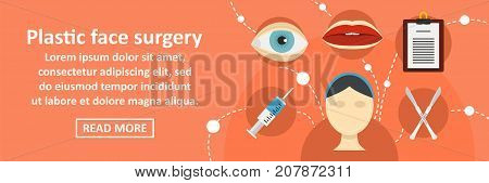 Plastic face surgery banner horizontal concept. Flat illustration of plastic face surgery banner horizontal vector concept for web design