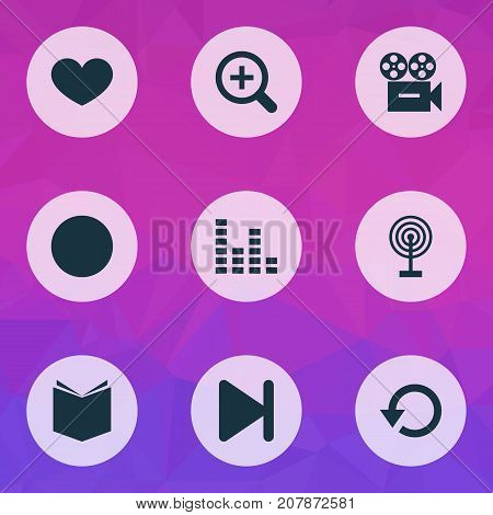 Music Icons Set. Collection Of Refresh, Cast, Zoom In And Other Elements