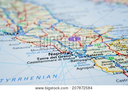 map of napoli, the concept of travel.