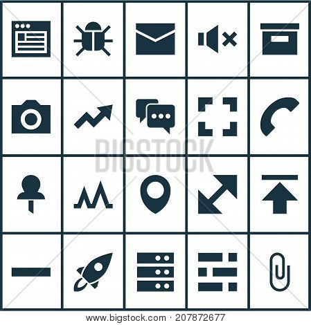 User Icons Set. Collection Of Minus, Screenshot, Note And Other Elements