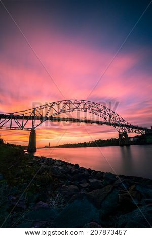 Sunrise Over Sagamore Bridge Cape Cod MA