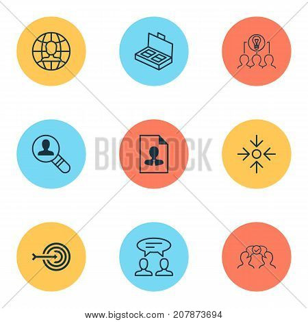 Corporate Icons Set. Collection Of Business Aim, Dialogue, Collaborative Solution And Other Elements