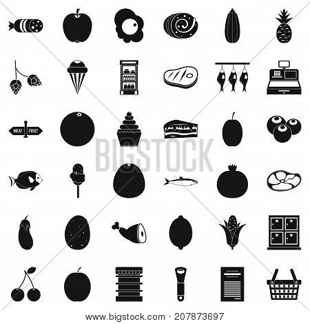 Grocery icons set. Simple style of 36 grocery vector icons for web isolated on white background