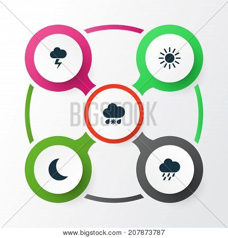 Weather Icons Set. Collection Of Douche, Moon, Lightning And Other Elements