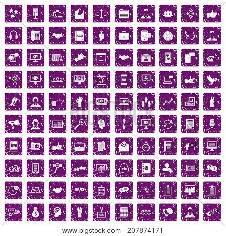 100 dialog icons set in grunge style purple color isolated on white background vector illustration