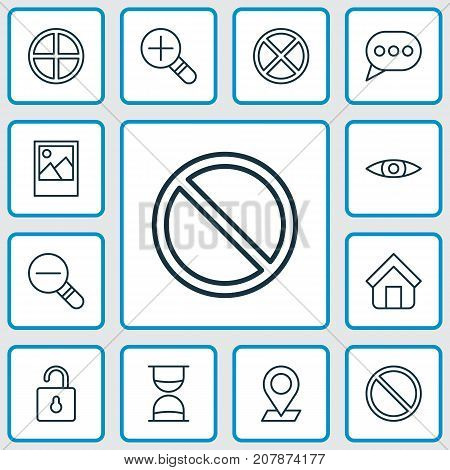 Internet Icons Set. Collection Of Pinpoint, Increase Loup, Exit And Other Elements