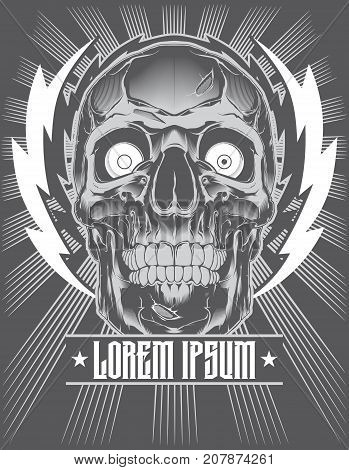 A vector tattoo illustration of crazy human skull.