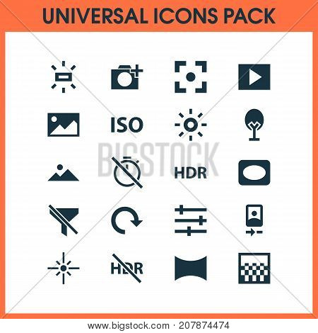 Image Icons Set. Collection Of Wb Iridescent, Multimedia, No Timer And Other Elements
