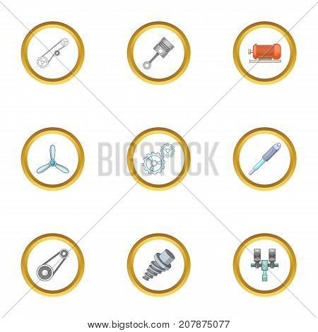 Machinery gear icons set. Cartoon style set of 9 machinery gear vector icons for web design