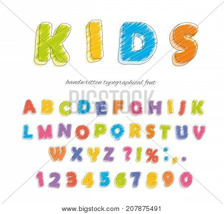 Font pencil crayon. For kids. Handwritten scribble Vector illustration