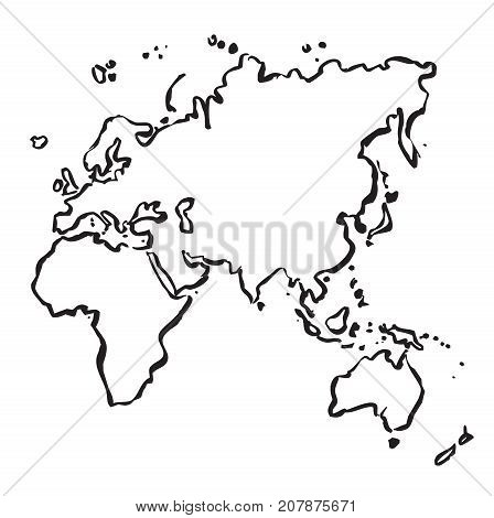 Outline Map of Europe, Asia, Africa and Australia. Vector illustration and graphic design.