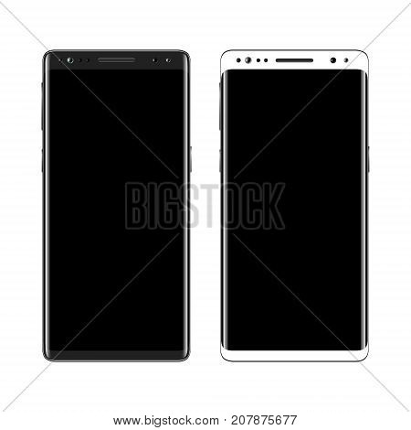 Black and white smartphone isolated on white background. Mobile phone with blank screen. Cell phone mockup design. Vector illustration.