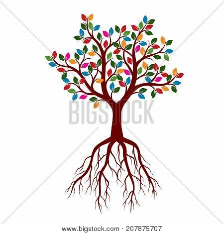 Color Tree with Roots. Graphic and nature pattern.