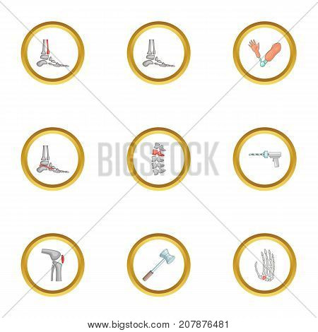 Orthopedic disease icons set. Cartoon style set of 9 orthopedic disease vector icons for web design