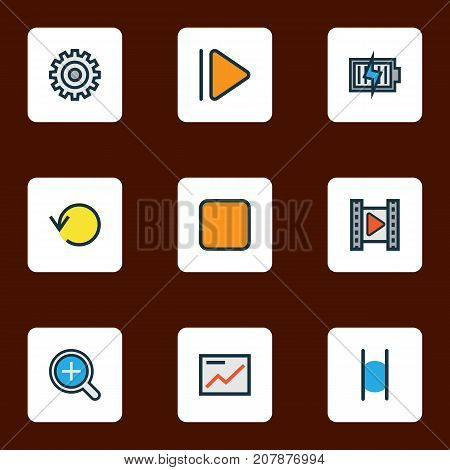 Media Colorful Outline Icons Set. Collection Of Gear, Energy, Zoom In And Other Elements