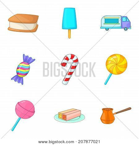 Sweetmeat icons set. Cartoon set of 9 sweetmeat vector icons for web isolated on white background