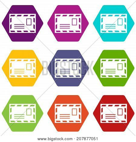 Postage envelope with stamp icon set many color hexahedron isolated on white vector illustration