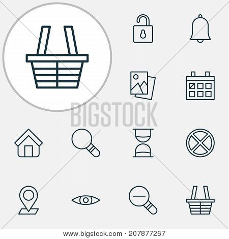 Internet Icons Set. Collection Of Calendar, Zoom Out, Hourglass And Other Elements