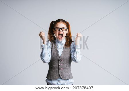 funny laughing girl with tails bobbing, isolated
