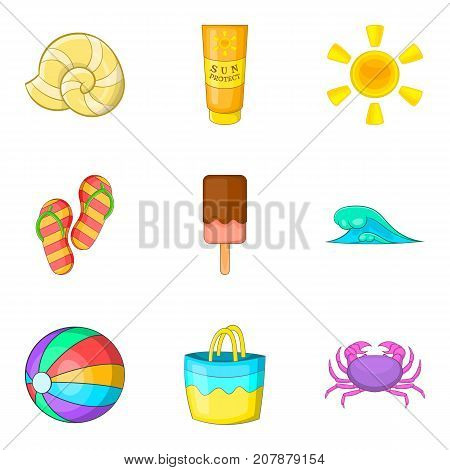 Hot weather icons set. Cartoon set of 9 hot weather vector icons for web isolated on white background