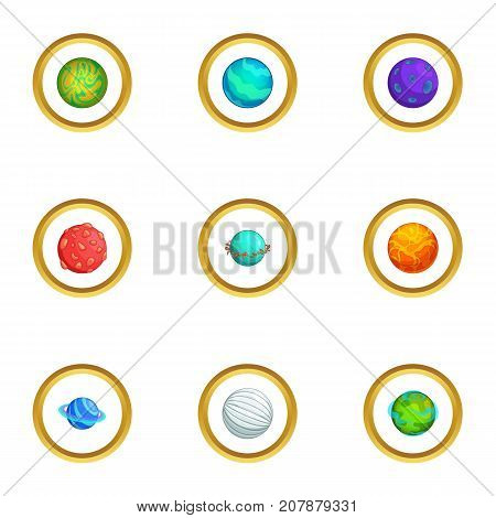 Mystery planet icons set. Cartoon style set of 9 mystery planet vector icons for web design
