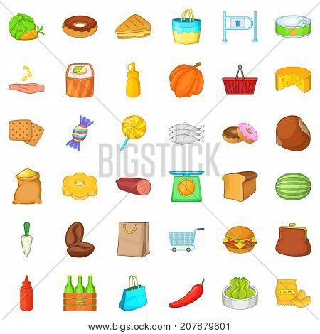 Sweet candy icons set. Cartoon style of 36 sweet candy vector icons for web isolated on white background