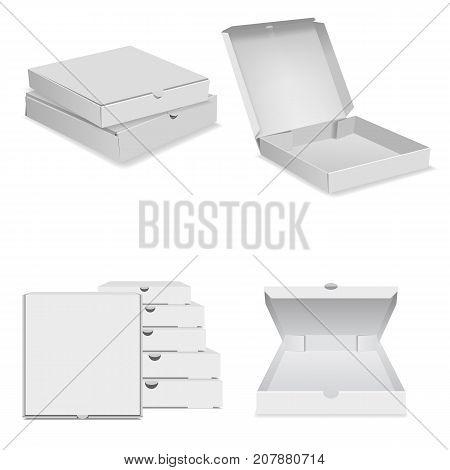 White pizza box icons set. Realistic illustration of white pizza box vector icon for web