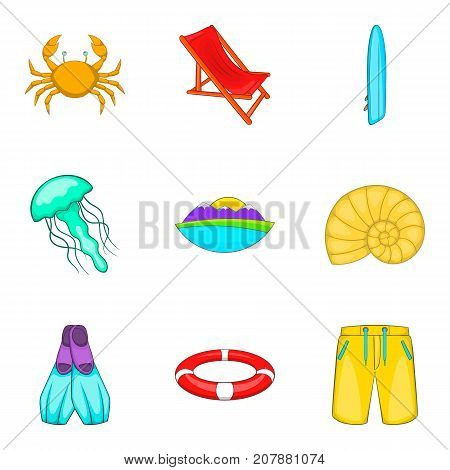 Sea life icons set. Cartoon set of 9 sea life vector icons for web isolated on white background