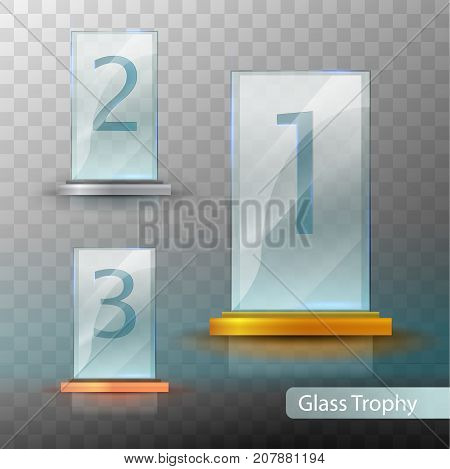 Glass Trophy Award. Set Of Cups - First, Second And Third Place. Prize Template. Gold, Silver Or Bro