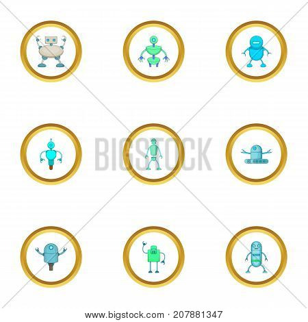 Clever machine icons set. Cartoon style set of 9 clever machine vector icons for web design