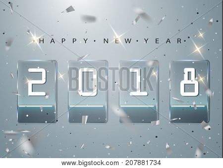 2018 Glass Counter Time. Banner Start Of The New Calendar Year. Glass Transparent Plates With Glow A