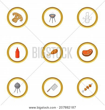 Cooking on barbecue icons set. Cartoon style set of 9 cooking on barbecue vector icons for web design