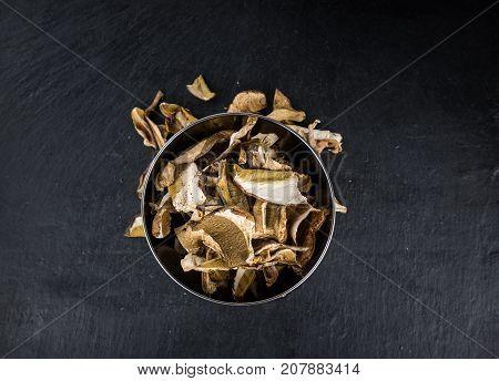 Slate Slab With Dried Porcinis