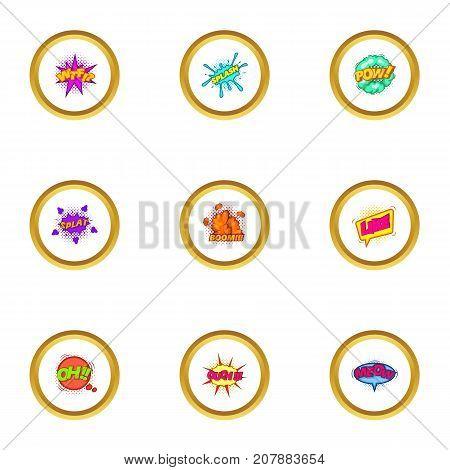 Pop art label icons set. Cartoon style set of 9 pop art label vector icons for web design