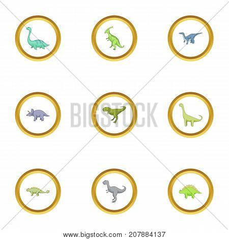 Types of dinosaur icons set. Cartoon style set of 9 types of dinosaur vector icons for web design