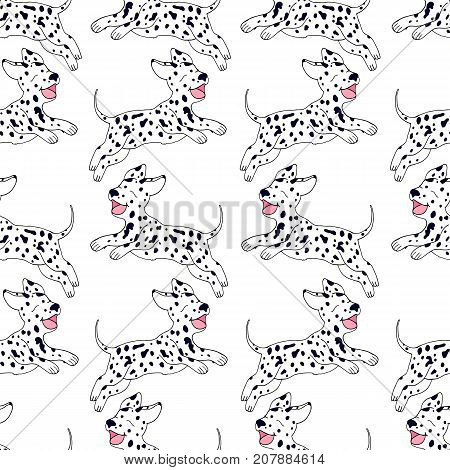 Cheerful puppy Dalmatian breed seamless pattern cartoon style vector hand drawing happy dog jumping beautiful animal background illustration.