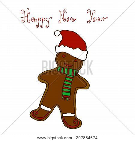 Christmas New Year greeting hand drawing card design gingerbread cookie sketch vector illustration on whit background. Christmas New Year greeting card banner with gingerman cookie.
