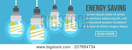 Energy saving banner horizontal concept. Flat illustration of energy saving banner horizontal vector concept for web design